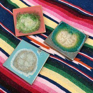 Set of 3 Anthropologie Crystal Geode Coasters
